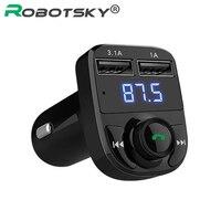 Robotsky Wireless Bluetooth Hands Free Car Kit FM Transmitter MP3 Player Modulator Dual USB Car Charger
