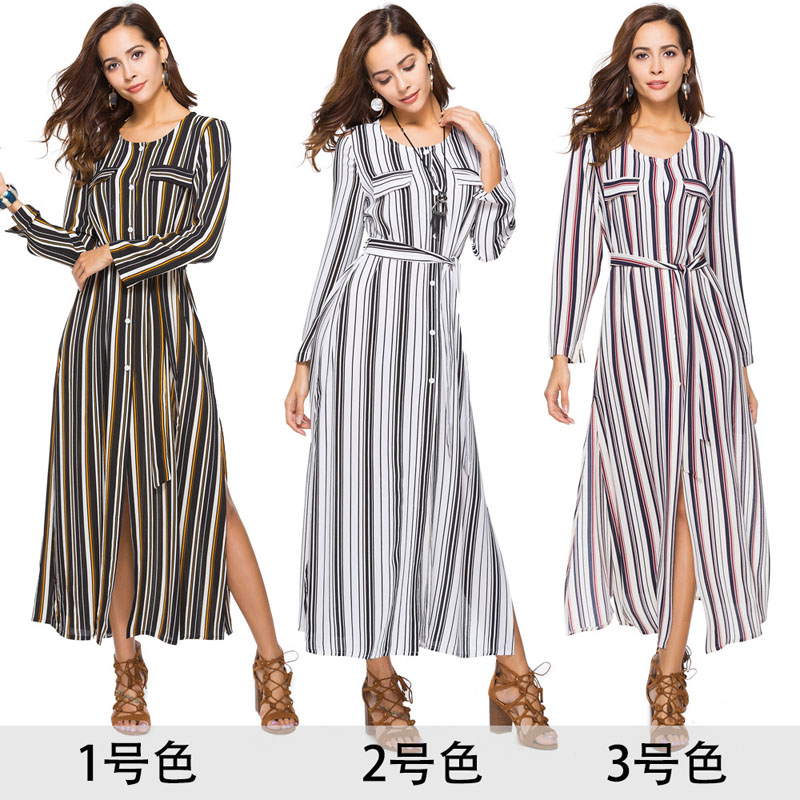 summer dress <font><b>2019</b></font> robe longue moda feminina stripe shirt dress <font><b>vestidos</b></font> <font><b>largos</b></font> de <font><b>verano</b></font> casual ropa de <font><b>mujer</b></font> primavera modis image