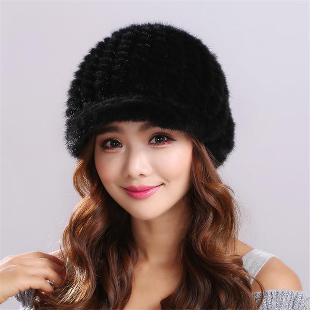 Cálido y cómodo Unisex color Sólido raya Gorros Espesar Mujer Gorra de Invierno de Piel de Visón de Punto de Visón Real Sombrero De Piel # H9023