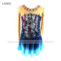 Figure Skating Dress Women's Girls' Ice Skating Dress gray High elastic spandex fabric Collocation of red blue and white drill