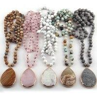 Модные богемные натуральный ювелирный камень узлом камень соответствия камень подвески ожерелья для Для женщин