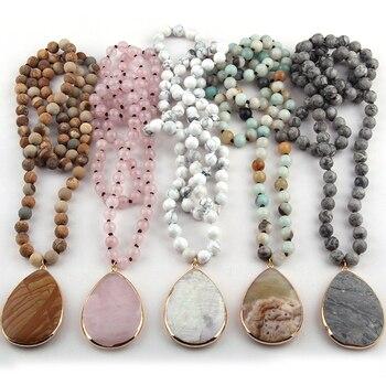 bed677238647 Envío Gratis moda Bohemia joyas de piedra Natural anudada de piedra gota  colgante collares para mujeres
