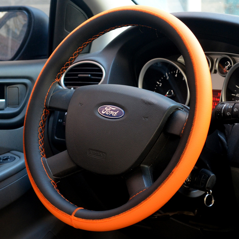 Blue Yellow DIY Car Steering Wheel Cover With Needles and Thread 3Color Sport Diameter 38cm Fiber leather Steering Wheel Cover