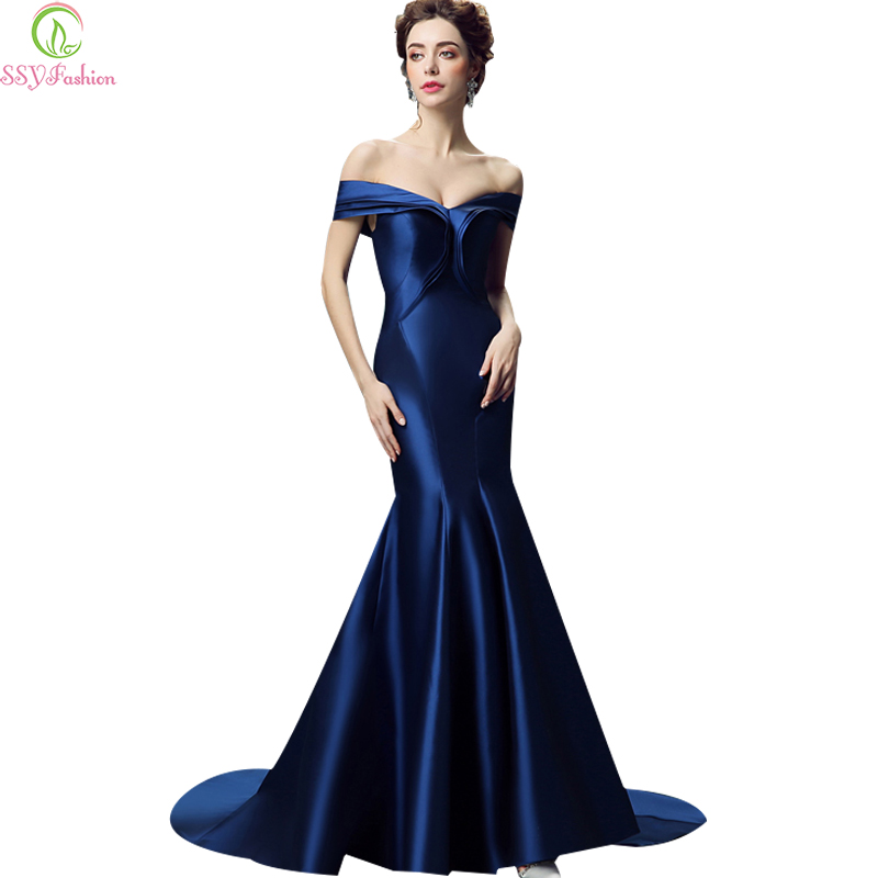2017 Luxury SSYFashion Royal Blue Satin Sexy Fishtail   Evening     Dress   Bride Slim Banquet Off-the-shoulder Lace-up Long Prom   Dress
