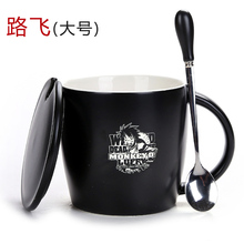 One Piece Coffee mug ceramic luffy zero ace cup with cover