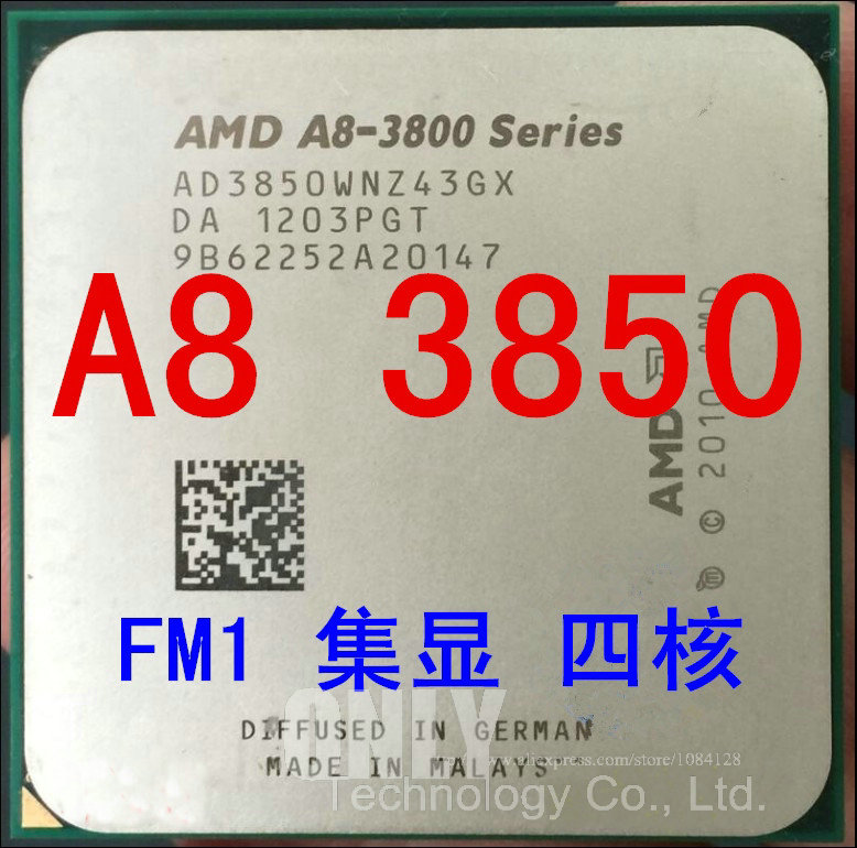 Free shipping  A8 3850 2.9GHz Quad core1MB 65W CPU processor FM1 A8 3850 APU 905 pin scrattered pieces-in CPUs from Computer & Office