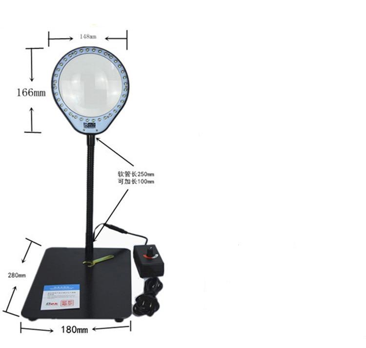 Купить 36 LED яркость регулируемая увеличительное стекло USB desktop magnifier СВЕТОДИОДНЫХ Ламп и 3X/5X Увеличением Света С Голубой Стекло дешево