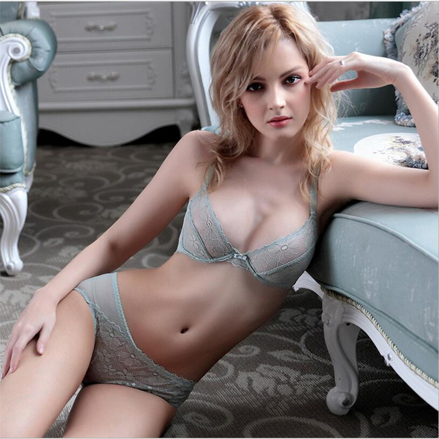 00966d34bc Young girl sexy temptation ultra-thin transparent lace underwear mint green  bra set bra sponge bra