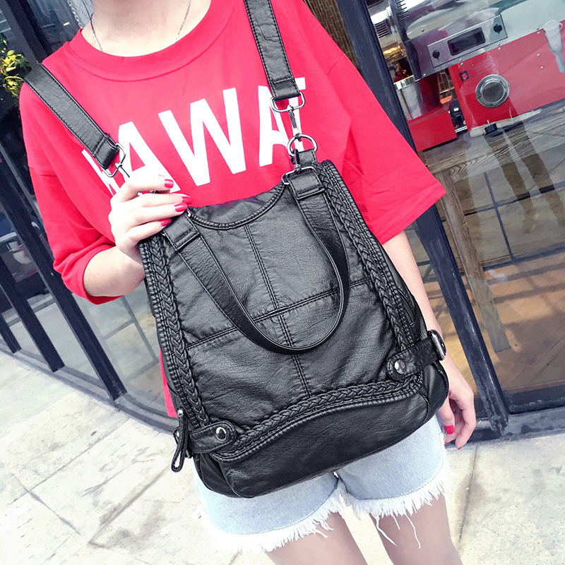 Kajie 2017 Genuine Leather Women Backpack Shoulder Bag Multifunctional School Sheepskin Europe Travel Back Pack Bolsa