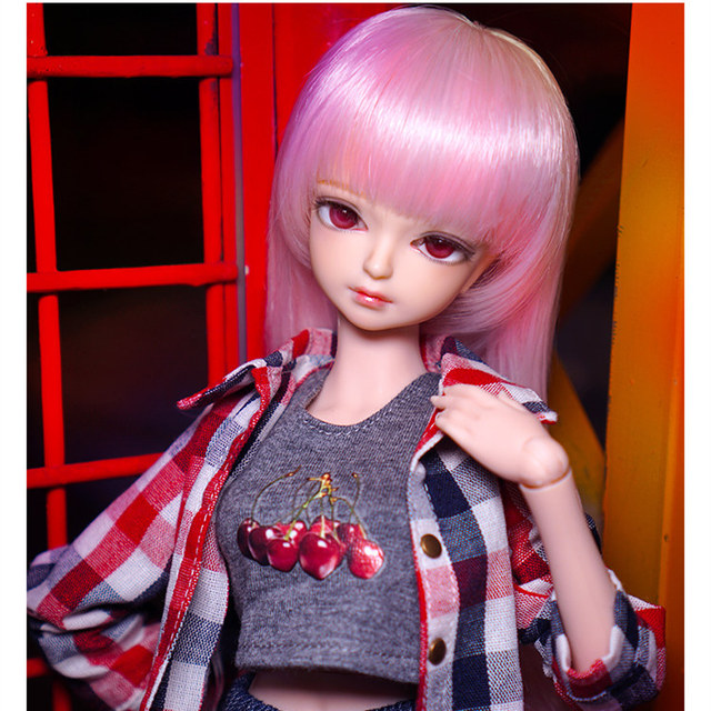 fortune days 1/4 bjd doll pale pink hair plaid shirt pants 45cm joint body 45cm  1