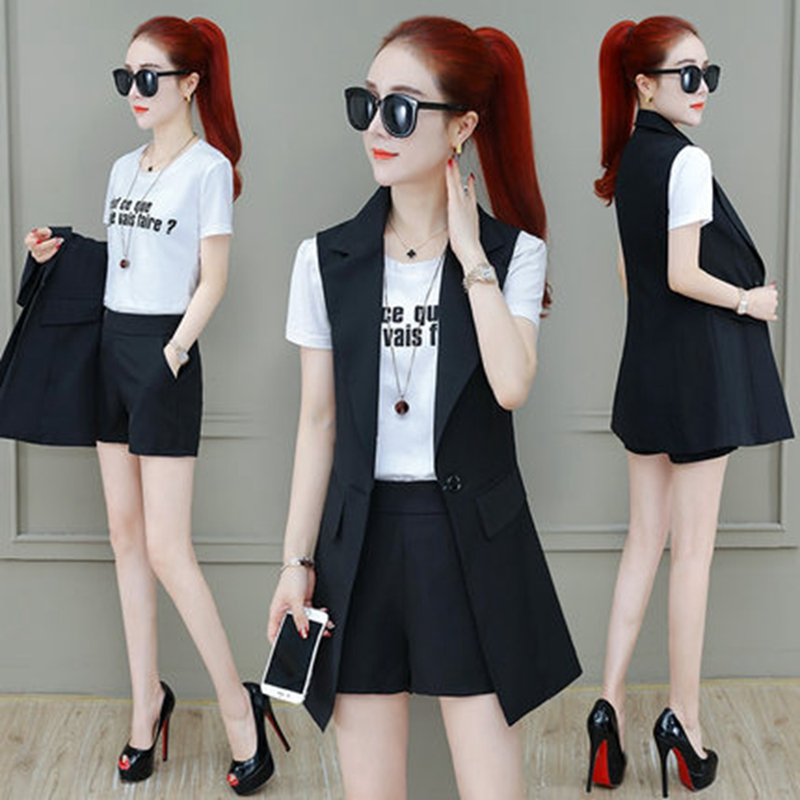 Spring summer Women Three piece set Casual tops + shorts Female Office Fashion Suit Set Costumes top 3 Piece