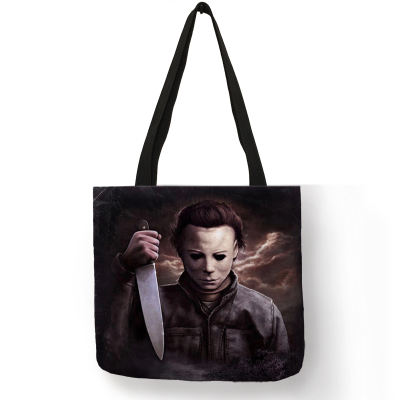 Personalized Folding Reusable Shopping Tote Bag Horror Michael Myers  Jack Sally Shoulder Bags