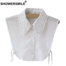 SHOWERSMILE White Fake Collar Women Lace Detachable Collar Shirt Female Vintage Solid Removable Lapel False Collars With Blouse