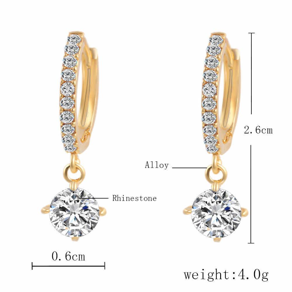 1Pair Silver Gold Round-shaped Eardrop Rhinestone Crystal Pendants Ear Earrings Women Fashion Jewelry aretes de mujer  4H