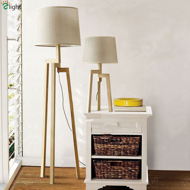 2016 Nordic Modern Minimalism Solid Wood Led Table Lamp Study Room Warm Romantic Fabric Lampshades Art