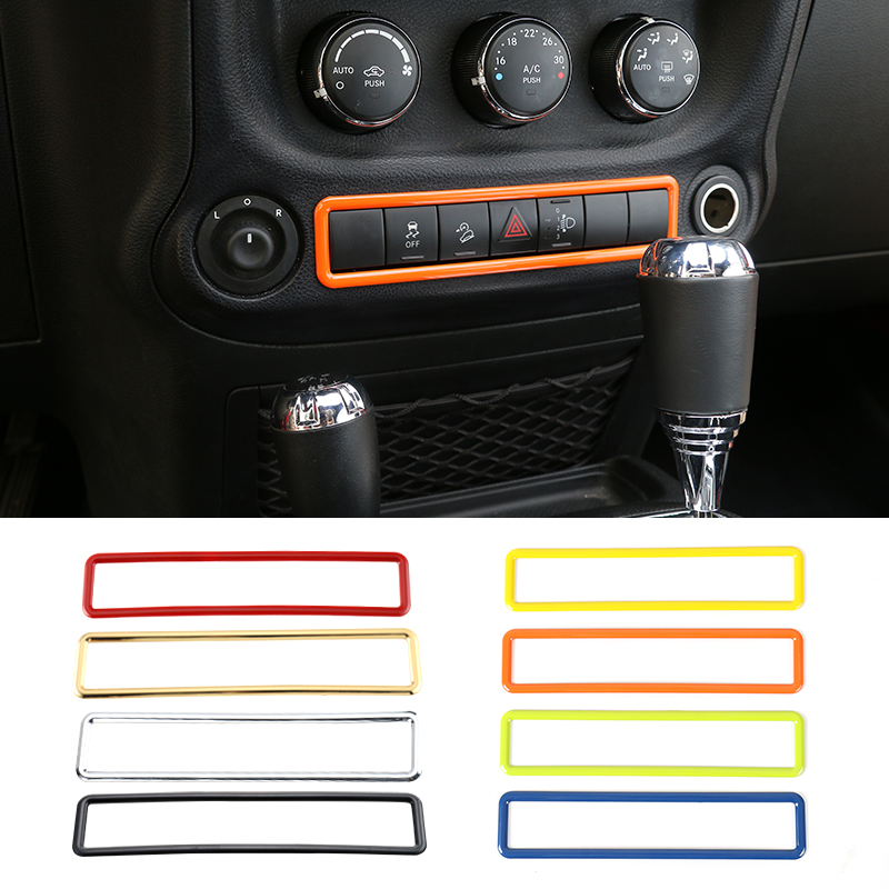 MOPAI Car ABS Interior Emergency Light Button Frame Cover Decoration Stickers For Jeep Wrangler 2011-2016 Car Styling