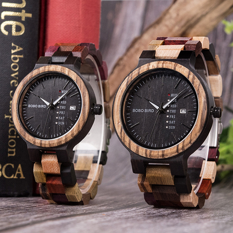 BOBO BIRD Wood watch Lover Couple Watches Men Show Date Ladies Wristwatch Women Quartz Male bayan kol saati Gift in Wood Box Karachi