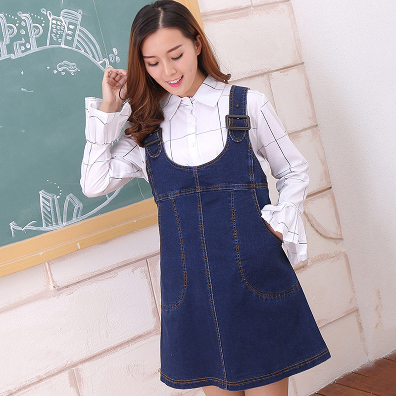 New Maternity Clothing Pregnancy Denim Strap Dress Strap Button Big Pockets Knee Length Denim Dress for Pregnant Women Clothing