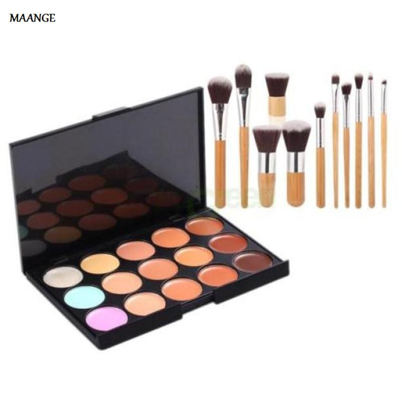 15 Colors Face Concealer Camouflage Cream Contour Palette 11pcs Makeup Brushes Set Bamboo