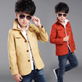 Toddler Boys Korean New Autumn 2016 Single Breasted Long Sleeve Turn Down Collar Fashion Solid Khaki/ Red Color Fashion Trench