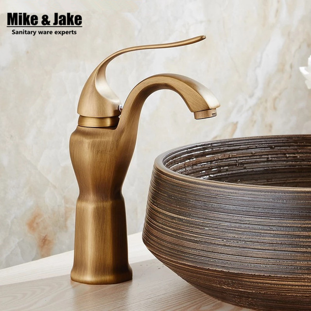 Whole brass antique brass basin faucet art basin bathroom faucet hot ...