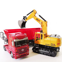 RC excavator toys RC truck toy Auto Lift Engineering car Dumper Tilting Cart Tip Lorry tractor Crawler Digger Model brinquedos