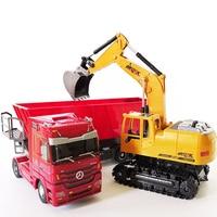 RC excavator toys RC truck toy Auto Lift Engineering car Dumper Tilting Cart Tip Lorry tractor Crawler Digger Model brinquedos