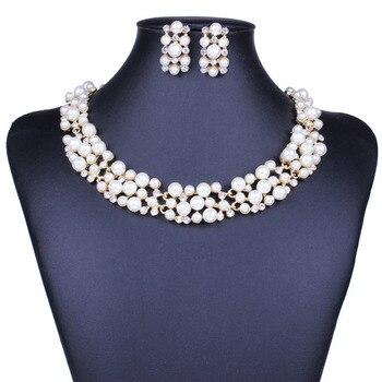 Fashion Pearl Gold Crystal Jewelry Set 2