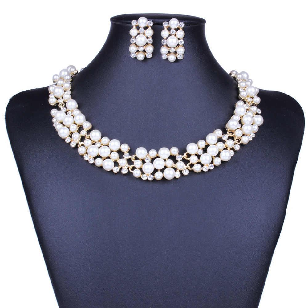 Di modo Set Gioielli di perle Per Le Donne Beads Africani Insieme Dei Monili In Oro di Cerimonia Nuziale di Cristallo Da Sposa Dubai Monili Della Collana del Costume