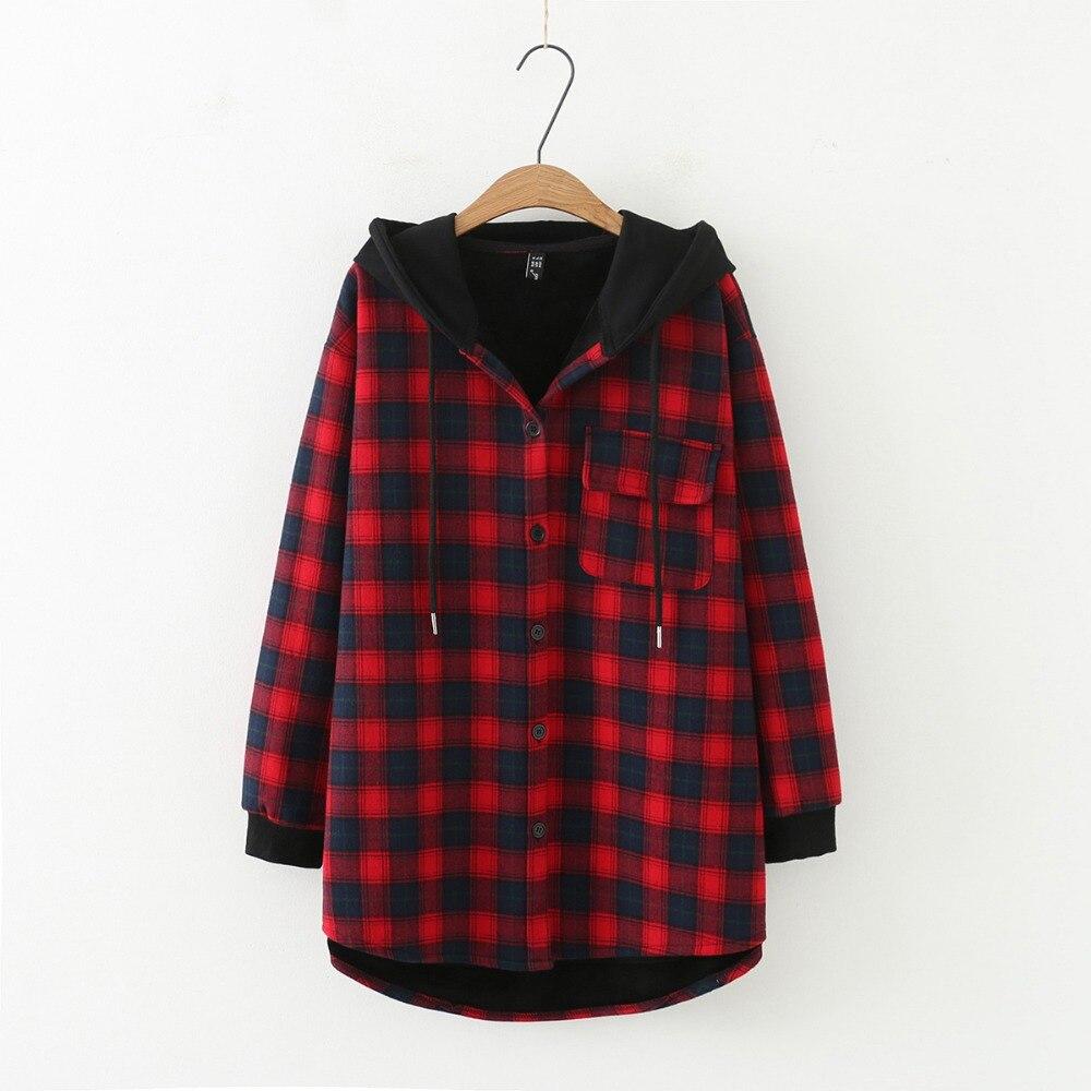 Plus size fleece Plaid drop shoulder hooded jackets 2019 winter casual oversized ladies zip up hoodies