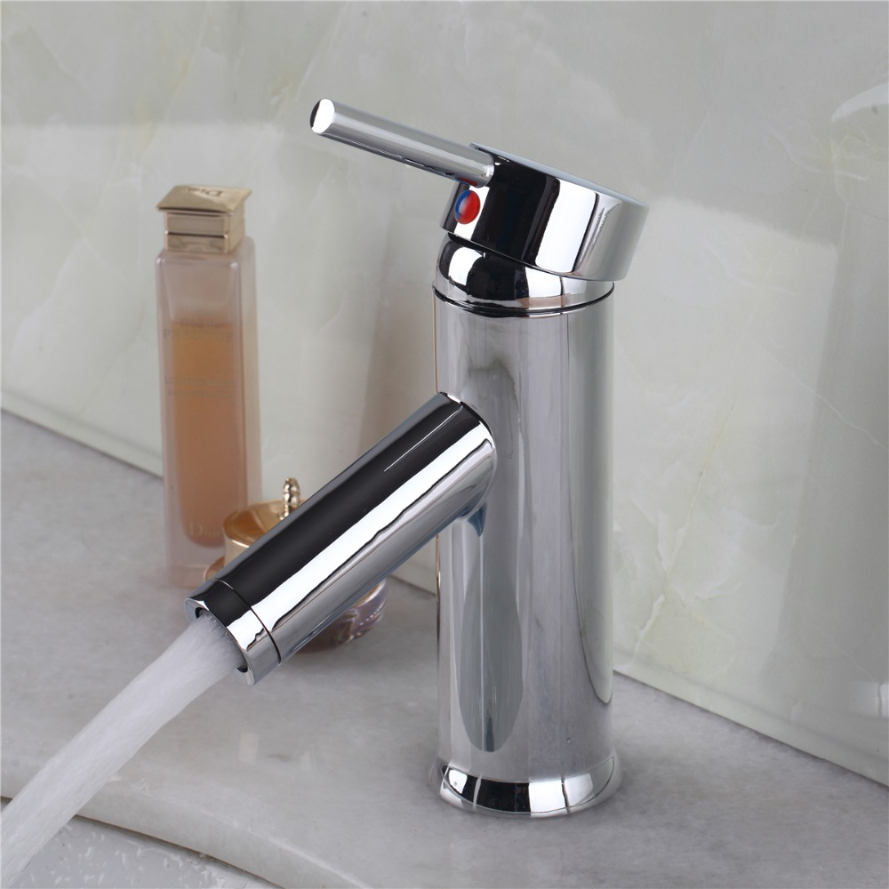 Square Shape 100% Solid Brass Single Hole Bathroom Faucet Waterfall Vanity Mixer Tap