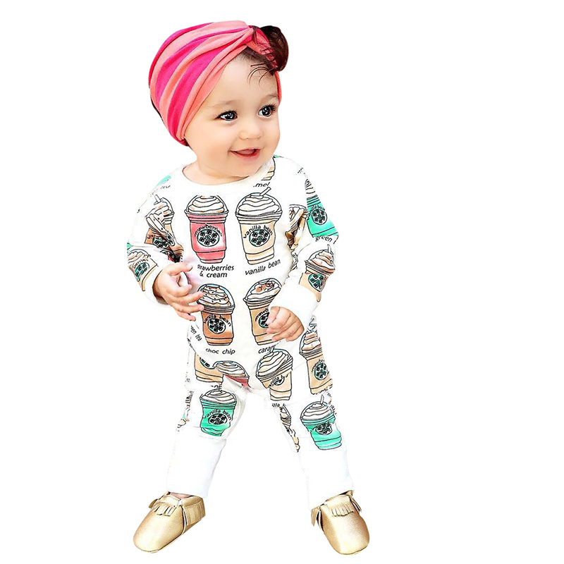 Newborn Baby Rompers 2016 Cute Toddler Baby Girl Boy Ice Cream Print Jumpers Rompers Playsuit Outfits Clothes 0-24M LH6s