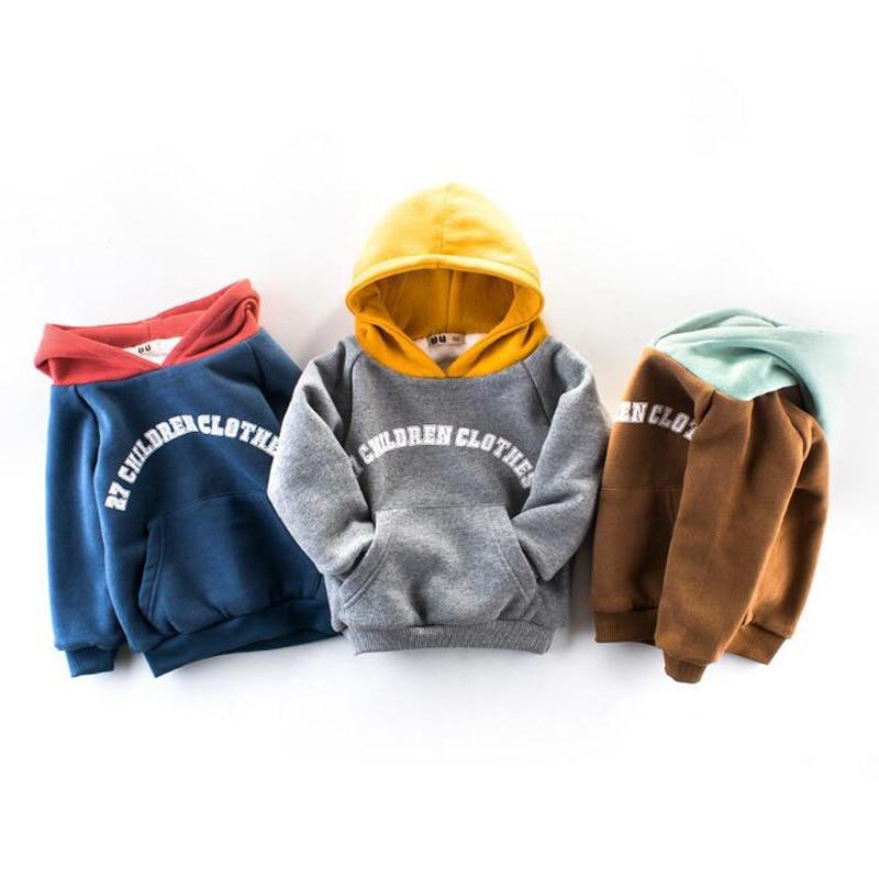 Children wear font b hoodies b font boys plus cashmere winter hoodie 2 8 year old