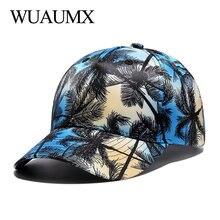 Wuaumx 3D Printing Baseball Caps For Men High Grade Coconut trees Bone Snapback Hip Hop Womens Summer Hat bone masculino