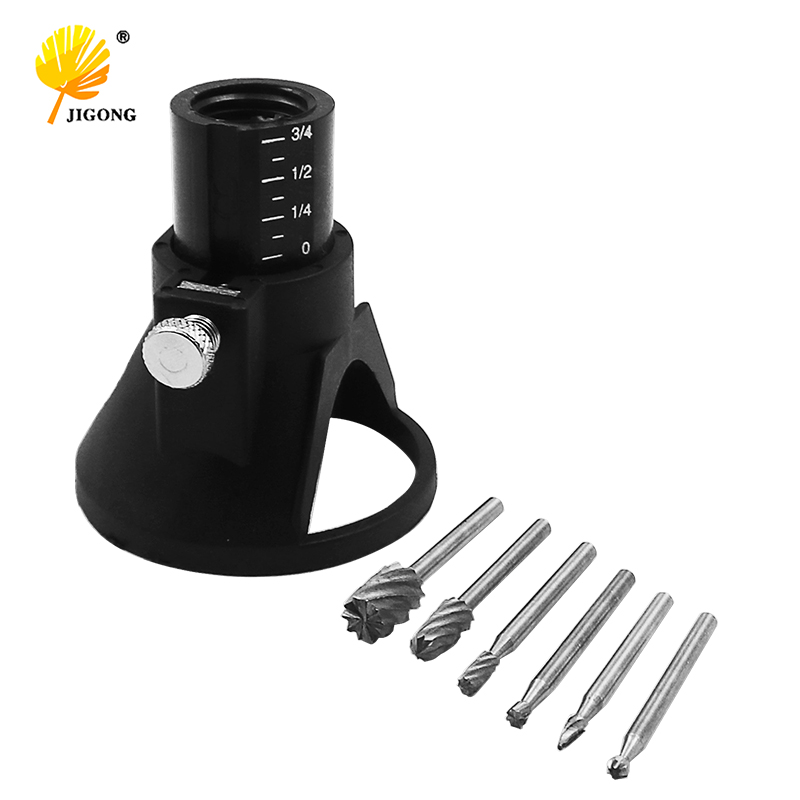 High Quality DREMEL MultiPro Drill's Special Seat Dedicated Locator Horn Fixed Base 6pcs HSS Wood Milling Burrs Cutter Set
