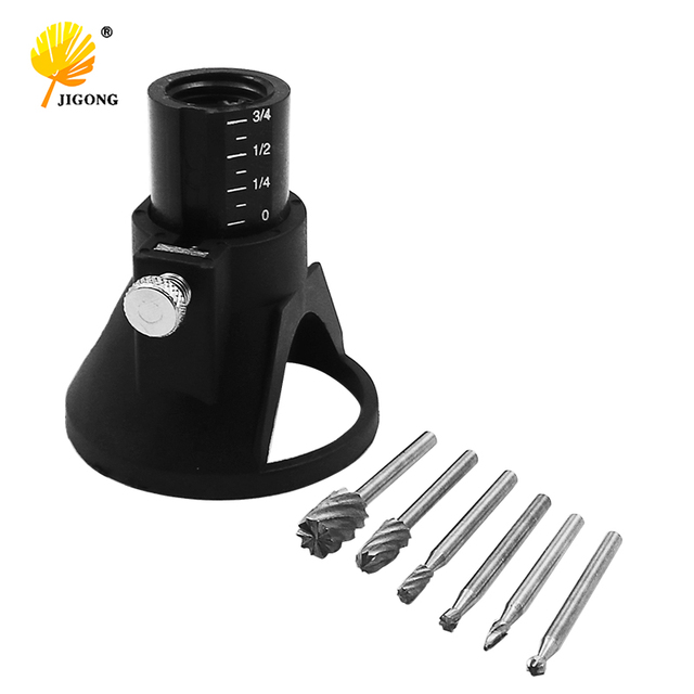 High Quality DREMEL MultiPro Drills Special seat Dedicated Locator Horn Fixed Base 6pcs HSS Wood Milling Burrs Cutter Set