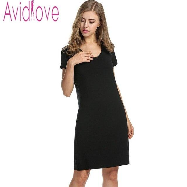 08d748e812d31 Avidlove Sexy Women Slim Nightgown V Neck Short Sleeve Loose Sleepwear  Casual Solid Basic Home Dress Women Night Skirt Nightwear-in Nightgowns &  ...