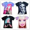 2016 Novos homens/mulheres crânio/Barbie girl/Alice princesa Impressão 3d t camisa Unisex T Harajuku t-shirt plus size S-XXL Transporte da gota