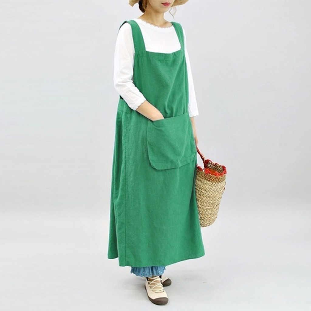 Delantal de Color puro cocina sin mangas delantales de cocina para mujer Chef camarero cafetería tienda trabajo delantal vestido cocina 19JUN7