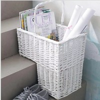 New White Woven Wicker Stair Step Basket Laundry Organizer Cosmetic Box with Handle Container Storage Clothes Children Toys Home