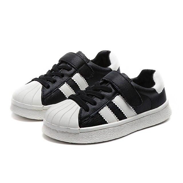 BABAYA Rayé Superstar Garçons Filles Véritable En Cuir Sneakers Enfants De Mode Casual Chaussures Enfants Chaussures