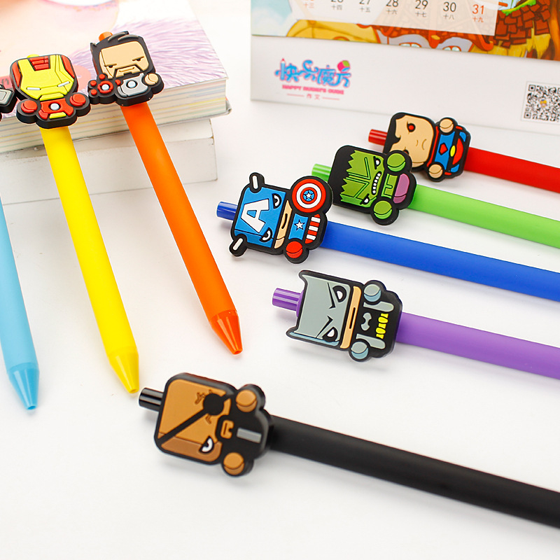 Kawaii Superman Batman Gel Pen PVC 0.5mm Black The Avengers Captain America Iron Man Pen Cute Korean Papelaria School Supplies