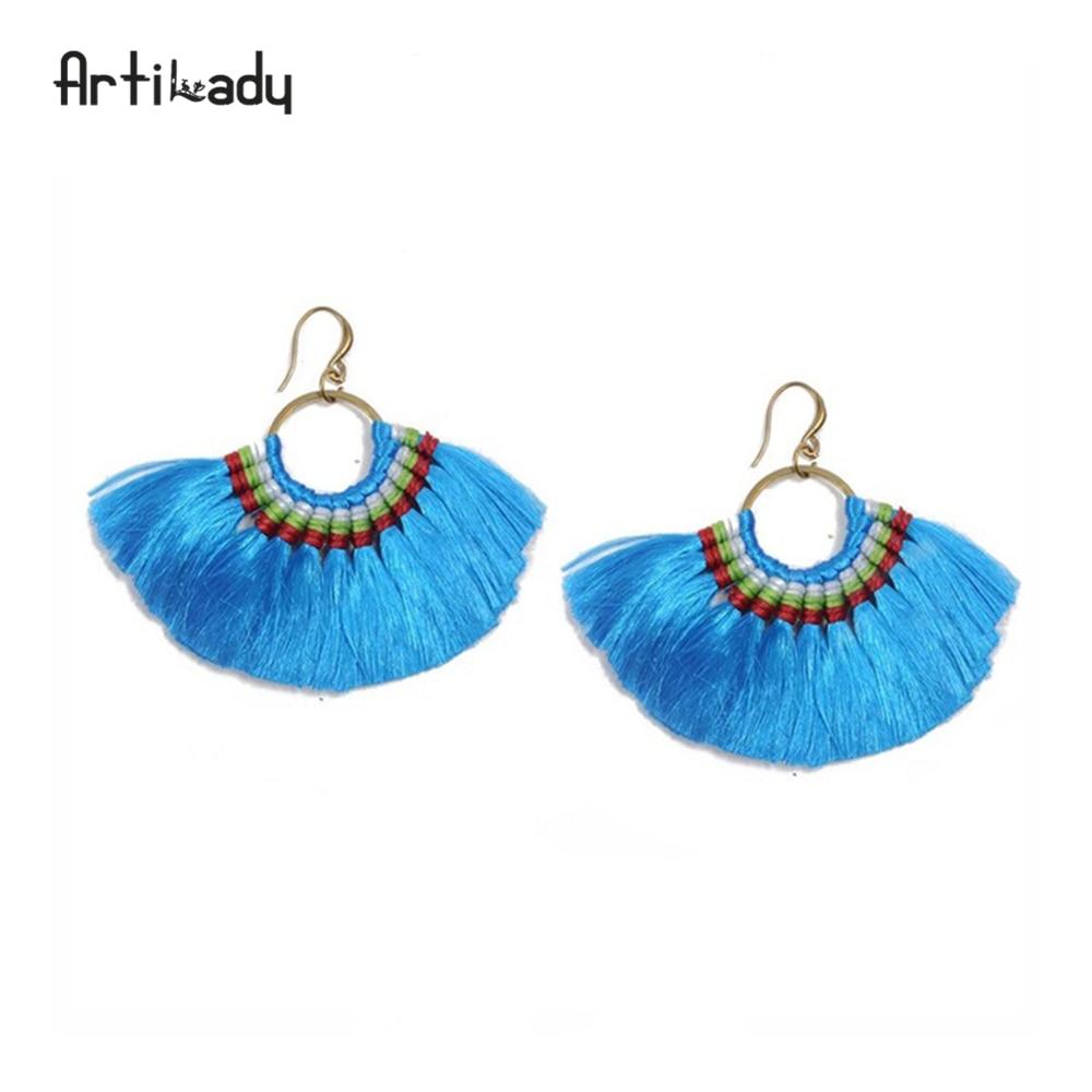Artilady 10 colors boho tassel earrings handmade long earring colorful drop earring for women jewelry gifts