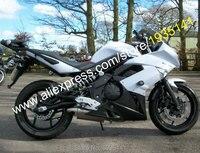Sıcak Satış, ABS Fairing Kitleri Için Kawasaki Ninja 650R ER6F 2009 2010 2011 6F 09 10 11 ER 6F Beyaz Siyah Motosiklet Fairing Kiti