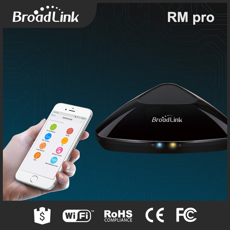 Smart Home Automation Broadlink RM2 RM PRO Universal Intelligent Remote Controller WiFi+IR+RF Switch Via IOS Android Phone broadlink us tc2 wifi touch switch 3gang 110 220v for rm2 rm pro universal remote controller wifi ir rf wireless control 433 315