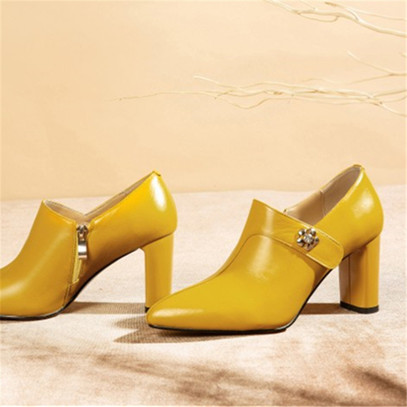 Ouqinvshen Genuine Leather Shoes Women Heels Fashion Sewing Rivet Zipper Thick Heels Yellow Heels Pointed Toe Sexy Ladies Pumps