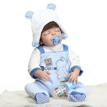 22″ Soft Blue Bathed Baby Doll Lifelike Cute Boy Bebe Doll Collectible Full Vinyl Reborn Dolls with Hand Rooted SilkyHair