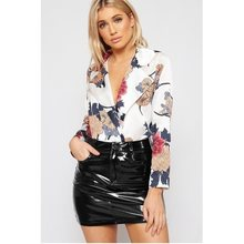 ca8b95e9468 2018 Printed Floral Romper Women Long Sleeve Patchwork Sexy Jumpsuit Shorts  Red Pink White Black Bodysuit