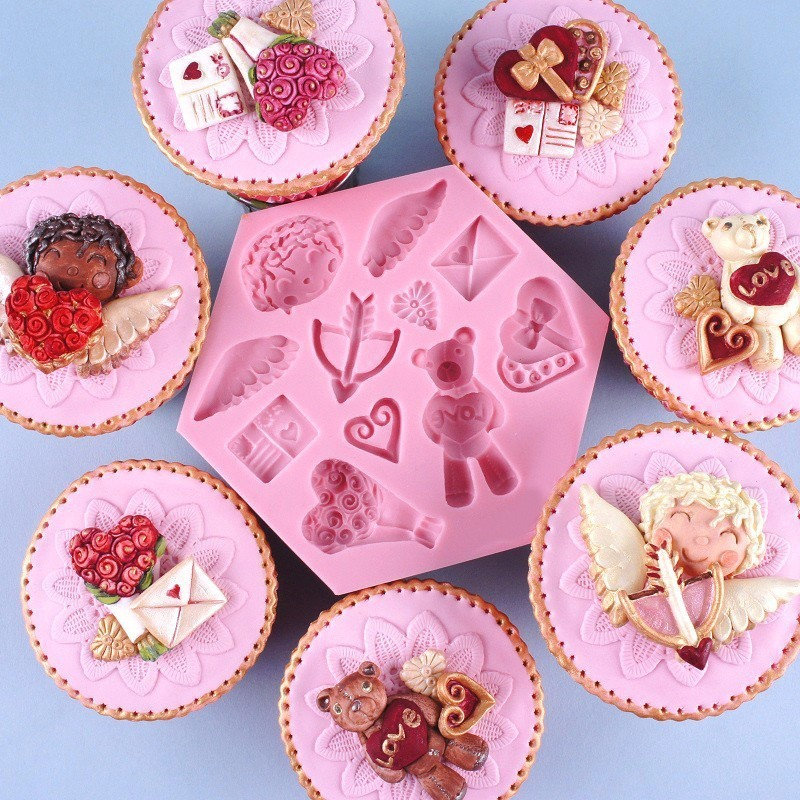 Silicone Mould Baked With Love Chopping Board Cupcake Topper Chocolate Sculpey