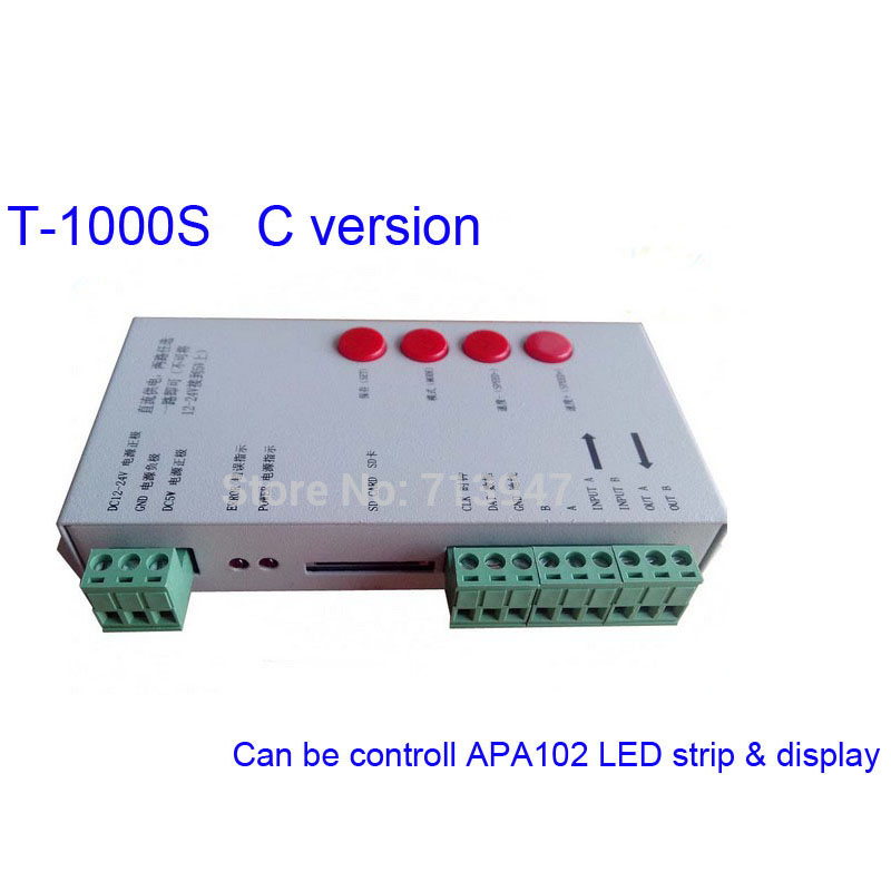 1X nouveauté Version T-1000S-C avec carte SD peut être utilisé pour APA102 bande numérique LED APA102 LED affichage livraison gratuite